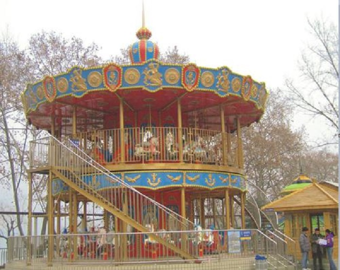 Beston 54 seats double decker carousel ride for sale